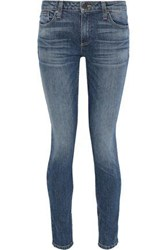 Alice Olivia Woman Low Rise Faded Skinny Jeans Mid Denim