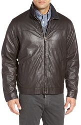 Peter Millar Cashmere Lined Leather Bomber Jacket Mahogany