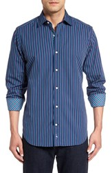 Tailorbyrd Men's 'Appalachians' Stripe Sport Shirt Navy