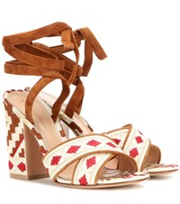 Gianvito Rossi Cheyenne Embroidered Canvas Sandals Brown