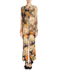Dries Van Noten Calyba Floral Print Chiffon Blouse Navy Multi