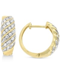 Wrapped In Love Diamond Channel Hoop Earrings 1 2 Ct. T.W. 10K Gold Only At Macy's Yellow Gold