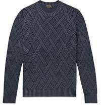 Tod's Cable Knit Wool Sweater Storm Blue