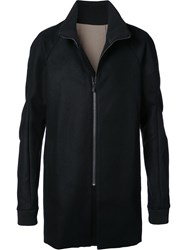 Devoa Zip Front Coat Cashmere Wool Black