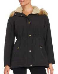 Jones New York Faux Fur Trimmed Hooded Jacket Black