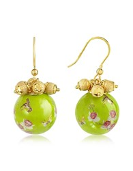 Naoto Alchimia Round Gold Foil Drop Earrings Green