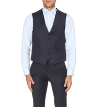 Gieves And Hawkes Single Breasted Wool Waistcoat Navy