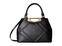 Calvin Klein Serena Quilted Leather Satchel Black Gold Satchel Handbags