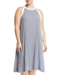 Three Dots Chevron Striped Halter Midi Dress Plus Size