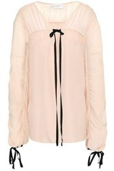 Amanda Wakeley Woman Tie Detailed Ruched Silk Crepe De Chine And Georgette Blouse Pastel Pink
