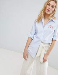 Maison Scotch Embroidered Chest Shirt 1234 Powder Blue