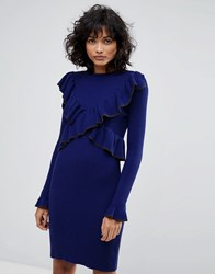 2Nd Day Frilly Knitted Dress Navy