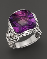 John Hardy Batu Classic Chain Silver Medium Braided Ring With Amethyst Purple Silver