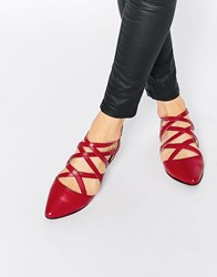 Park Lane Strappy Leather Flat Shoes Red