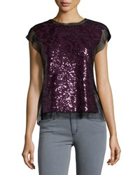 Bcbgmaxazria Cap Sleeve Mesh Panel Sequin Top Deep Port