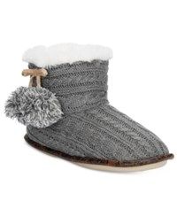 Pj Couture Cable Knit Slipper Booties Gray