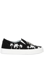 Chiara Ferragni 20Mm Palms Cotton Slip On Sneakers Black White