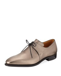 Corthay Arca Metallic Leather Derby Shoe Gray