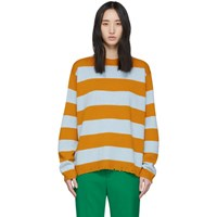 Marc Jacobs Blue And Yellow Wool Grunge Sweater