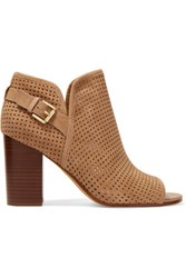 Sam Edelman Easton Perforated Suede Ankle Boots Light Brown