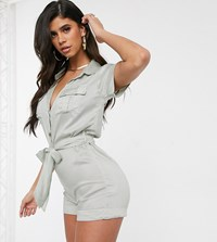 Akasa Exclusive Utility Playsuit In Eggshell White