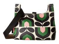 Orla Kiely Matt Laminated Stripe Tulip Print Mini Sling Bag Spring Sling Handbags Green