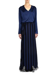 Alexis Mabille Long Slit Skirt With Lace Trim Blue