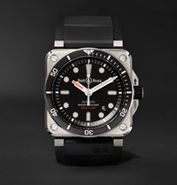 Bell And Ross Br 03 92 Diver Type 42Mm Stainless Steel Rubber Watch Black