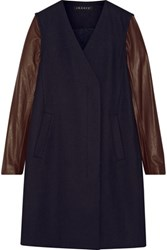 Theory Quennel Leather Paneled Stretch Wool Blend Coat Midnight Blue