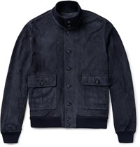 Valstarino Unlined Suede Bomber Jacket Blue