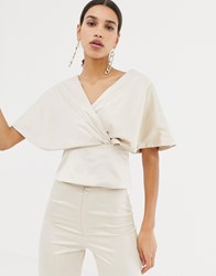 Club L Wrap Front Flute Sleeve Top Gold