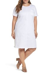Vince Camuto Plus Size Women's Two By Frayed Denim Shift Dress Ultra Whit
