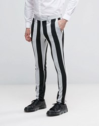 Asos Halloween Super Skinny Trousers In Black And White Stripe Black White Multi