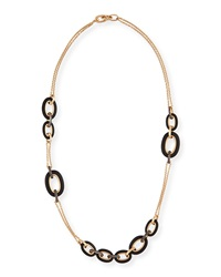 Tango 18K Rose Gold Black Diamond Link Necklace Pomellato