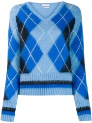 Ballantyne Argyle Knit Jumper Blue