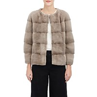Lilly E Violetta Colorblocked Mink Bomber Jacket Beige Tan