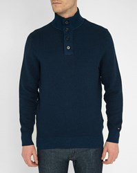 Tommy Hilfiger Blue Taylor Buttoned Zip Neck Sweater
