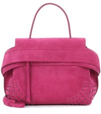 Tod's Wave Small Suede Tote Pink