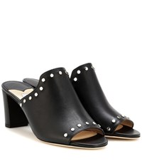 Jimmy Choo Myla Open Toe Leather Mules Black
