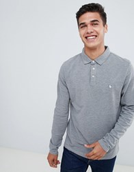Jack Wills Staplecross Long Sleeve Polo In Grey