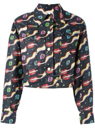 Olympia Le Tan Smoking Lips Print Jacket Black