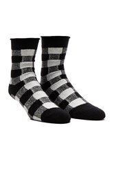 Plush Thin Rolled Fleece Sock Black And White