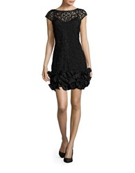 Jessica Simpson Embroidered Ruffled Sheath Dress Black
