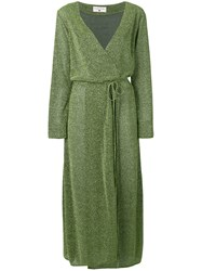 Danielapi Lurex Knit Wrap Dress Green