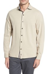 Thaddeus Men's Shively Pique Knit Sport Shirt Stone