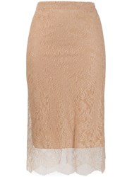 Tom Ford Layered Lace Skirt Neutrals
