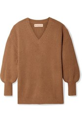 Apiece Apart Napoli Oversized Ribbed Cotton And Cashmere Blend Sweater Camel