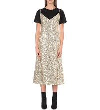Walk Of Shame Christmas Silk Blend Sequin Slip Dress Silver