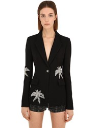 Philipp Plein Embroidered Techno Blazer Black
