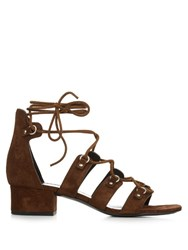 Saint Laurent Lace Up Suede Sandals Dark Brown